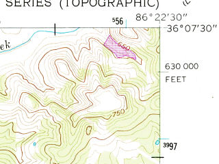 Reduced fragment of topographic map en--usgs--024k--017346--(1956)--N036-07-30_W086-30-00--N036-00-00_W086-22-30