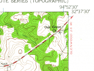 Reduced fragment of topographic map en--usgs--024k--017347--(1960)--N032-37-30_W095-00-00--N032-30-00_W094-52-30; towns and cities Gladewater, Clarksville City, Union Grove, Warren City