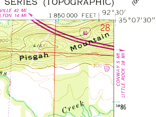 Reduced fragment of topographic map en--usgs--024k--017393--(1961)--N035-07-30_W092-37-30--N035-00-00_W092-30-00