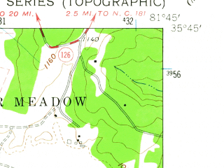 Reduced fragment of topographic map en--usgs--024k--017403--(1962)--N035-45-00_W081-52-30--N035-37-30_W081-45-00; towns and cities Glen Alpine
