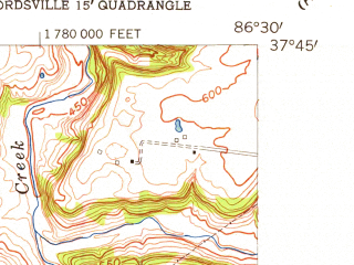 Reduced fragment of topographic map en--usgs--024k--017406--(1953)--N037-45-00_W086-37-30--N037-37-30_W086-30-00
