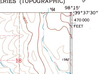Reduced fragment of topographic map en--usgs--024k--017408--(1962)--N039-37-30_W098-22-30--N039-30-00_W098-15-00; towns and cities Glen Elder