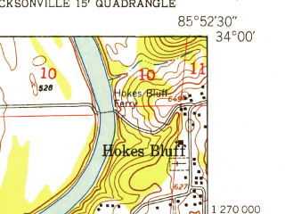 Reduced fragment of topographic map en--usgs--024k--017429--(1947)--N034-00-00_W086-00-00--N033-52-30_W085-52-30; towns and cities Glencoe