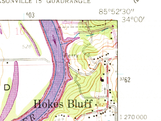 Reduced fragment of topographic map en--usgs--024k--017429--(1956)--N034-00-00_W086-00-00--N033-52-30_W085-52-30; towns and cities Glencoe