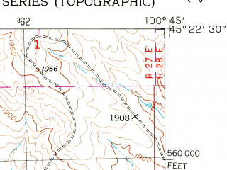 Reduced fragment of topographic map en--usgs--024k--017434--(1952)--N045-22-30_W100-52-30--N045-15-00_W100-45-00