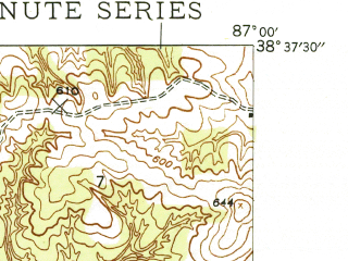 Reduced fragment of topographic map en--usgs--024k--017435--(1944)--N038-37-30_W087-07-30--N038-30-00_W087-00-00 in area of Dogwood Lake