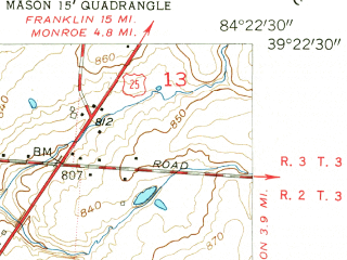Reduced fragment of topographic map en--usgs--024k--017436--(1955)--N039-22-30_W084-30-00--N039-15-00_W084-22-30; towns and cities Sharonville, Springdale, Beckett Ridge, Evendale, Glendale