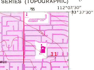 Reduced fragment of topographic map en--usgs--024k--017440--(1957)--N033-37-30_W112-15-00--N033-30-00_W112-07-30; towns and cities Glendale