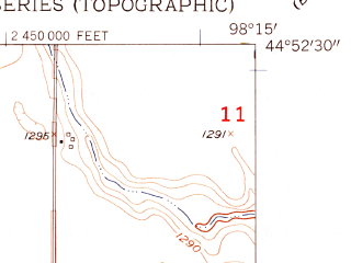 Reduced fragment of topographic map en--usgs--024k--017444--(1956)--N044-52-30_W098-22-30--N044-45-00_W098-15-00