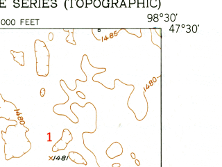 Reduced fragment of topographic map en--usgs--024k--017452--(1951)--N047-30-00_W098-37-30--N047-22-30_W098-30-00; towns and cities Glenfield