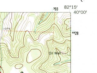 Reduced fragment of topographic map en--usgs--024k--017453--(1961)--N040-00-00_W082-22-30--N039-52-30_W082-15-00; towns and cities Glenford