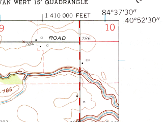 Reduced fragment of topographic map en--usgs--024k--017459--(1960)--N040-52-30_W084-45-00--N040-45-00_W084-37-30