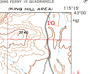 Reduced fragment of topographic map en--usgs--024k--017468--(1947)--N043-00-00_W115-22-30--N042-52-30_W115-15-00; towns and cities Glenns Ferry