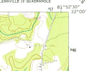 Reduced fragment of topographic map en--usgs--024k--017469--(1958)--N032-00-00_W082-00-00--N031-52-30_W081-52-30; towns and cities Glennville