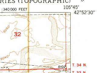 Reduced fragment of topographic map en--usgs--024k--017476--(1950)--N042-52-30_W105-52-30--N042-45-00_W105-45-00; towns and cities Glenrock