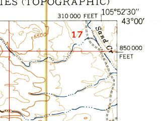 Reduced fragment of topographic map en--usgs--024k--017477--(1950)--N043-00-00_W106-00-00--N042-52-30_W105-52-30
