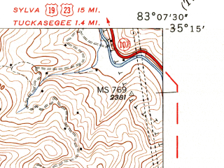 Reduced fragment of topographic map en--usgs--024k--017487--(1947)--N035-15-00_W083-15-00--N035-07-30_W083-07-30 in area of Thorpe Lake