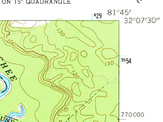 Reduced fragment of topographic map en--usgs--024k--017506--(1958)--N032-07-30_W081-52-30--N032-00-00_W081-45-00