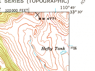 Reduced fragment of topographic map en--usgs--024k--017510--(1945)--N033-30-00_W110-52-30--N033-22-30_W110-45-00; towns and cities Globe, Miami, Central Heights-midland City, Claypool