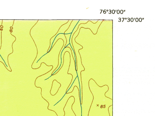 Reduced fragment of topographic map en--usgs--024k--017516--(1953)--N037-30-00_W076-37-30--N037-22-30_W076-30-00; towns and cities Gloucester Courthouse