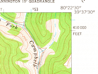 Reduced fragment of topographic map en--usgs--024k--017520--(1960)--N039-37-30_W080-30-00--N039-30-00_W080-22-30