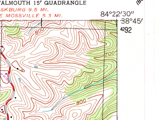 Reduced fragment of topographic map en--usgs--024k--017574--(1953)--N038-45-00_W084-30-00--N038-37-30_W084-22-30