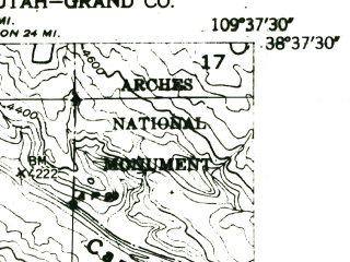 Reduced fragment of topographic map en--usgs--024k--017579--(1952)--N038-37-30_W109-45-00--N038-30-00_W109-37-30