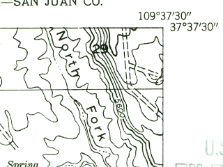 Reduced fragment of topographic map en--usgs--024k--017579--(1954)--N038-37-30_W109-45-00--N038-30-00_W109-37-30