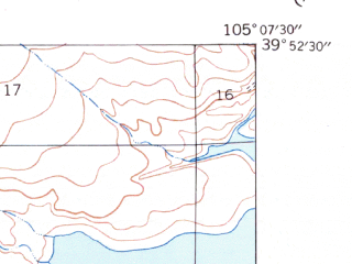 Reduced fragment of topographic map en--usgs--024k--017616--(1939)--N039-52-30_W105-15-00--N039-45-00_W105-07-30