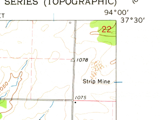 Reduced fragment of topographic map en--usgs--024k--017622--(1962)--N037-30-00_W094-07-30--N037-22-30_W094-00-00; towns and cities Golden City