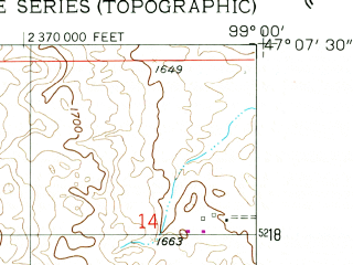 Reduced fragment of topographic map en--usgs--024k--017658--(1958)--N047-07-30_W099-07-30--N047-00-00_W099-00-00