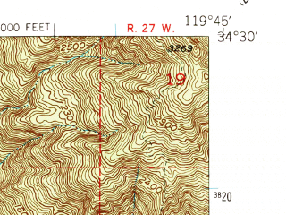 Reduced fragment of topographic map en--usgs--024k--017661--(1950)--N034-30-00_W119-52-30--N034-22-30_W119-45-00; towns and cities Isla Vista