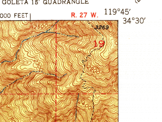 Reduced fragment of topographic map en--usgs--024k--017661--(1951)--N034-30-00_W119-52-30--N034-22-30_W119-45-00; towns and cities Isla Vista