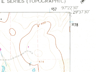 Reduced fragment of topographic map en--usgs--024k--017677--(1962)--N029-37-30_W097-30-00--N029-30-00_W097-22-30; towns and cities Gonzales