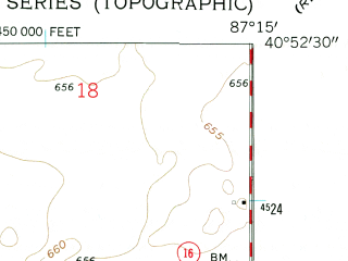Reduced fragment of topographic map en--usgs--024k--017709--(1962)--N040-52-30_W087-22-30--N040-45-00_W087-15-00; towns and cities Brook, Goodland