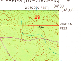 Reduced fragment of topographic map en--usgs--024k--017740--(1950)--N034-00-00_W094-37-30--N033-52-30_W094-30-00