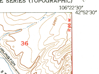 Reduced fragment of topographic map en--usgs--024k--017756--(1950)--N042-52-30_W106-30-00--N042-45-00_W106-22-30; towns and cities Mills
