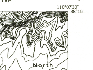 Reduced fragment of topographic map en--usgs--024k--017785--(1953)--N038-15-00_W110-15-00--N038-07-30_W110-07-30