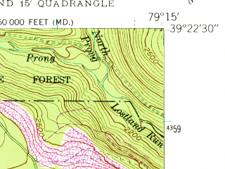 Reduced fragment of topographic map en--usgs--024k--017810--(1949)--N039-22-30_W079-22-30--N039-15-00_W079-15-00; towns and cities Bayard