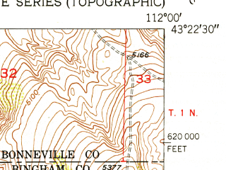 Reduced fragment of topographic map en--usgs--024k--017818--(1952)--N043-22-30_W112-07-30--N043-15-00_W112-00-00