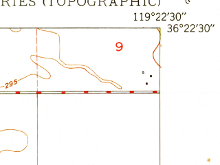 Reduced fragment of topographic map en--usgs--024k--017825--(1950)--N036-22-30_W119-30-00--N036-15-00_W119-22-30