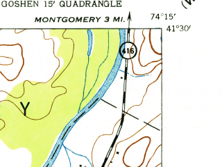 Reduced fragment of topographic map en--usgs--024k--017826--(1942)--N041-30-00_W074-22-30--N041-22-30_W074-15-00; towns and cities Goshen, Scotchtown