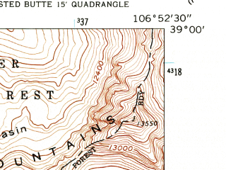 Reduced fragment of topographic map en--usgs--024k--017845--(1961)--N039-00-00_W107-00-00--N038-52-30_W106-52-30; towns and cities Mount Crested Butte
