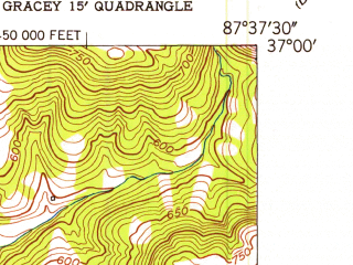 Reduced fragment of topographic map en--usgs--024k--017903--(1953)--N037-00-00_W087-45-00--N036-52-30_W087-37-30