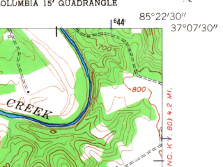 Reduced fragment of topographic map en--usgs--024k--017909--(1953)--N037-07-30_W085-30-00--N037-00-00_W085-22-30