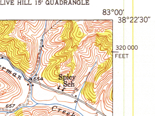 Reduced fragment of topographic map en--usgs--024k--017933--(1950)--N038-22-30_W083-07-30--N038-15-00_W083-00-00
