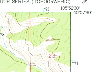 Reduced fragment of topographic map en--usgs--024k--017948--(1957)--N040-07-30_W106-00-00--N040-00-00_W105-52-30; towns and cities Granby