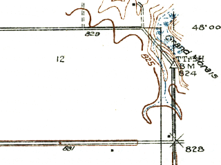 Reduced fragment of topographic map en--usgs--024k--017963--(1934)--N048-00-00_W097-07-30--N047-52-30_W097-00-00; towns and cities Grand Forks, East Grand Forks