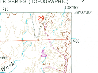 Reduced fragment of topographic map en--usgs--024k--017976--(1962)--N039-07-30_W108-37-30--N039-00-00_W108-30-00; towns and cities Grand Junction, Orchard Mesa