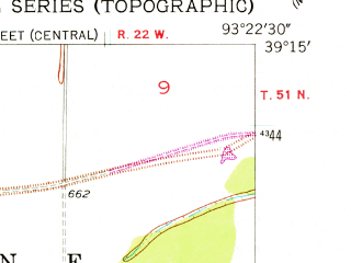 Reduced fragment of topographic map en--usgs--024k--017989--(1953)--N039-15-00_W093-30-00--N039-07-30_W093-22-30; towns and cities Grand Pass, Mount Leonard
